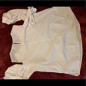 Lane Bryant white cotton blouse